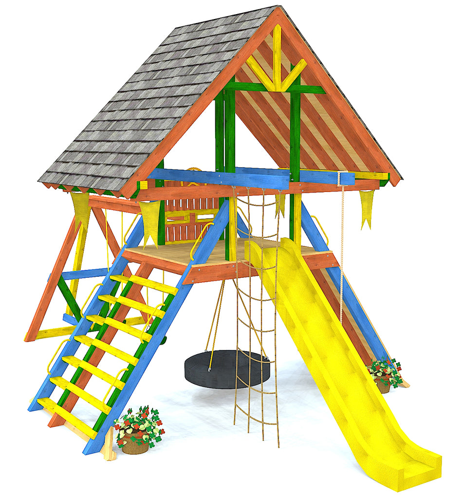 Red, blue and yellow A-frame swing set with slide