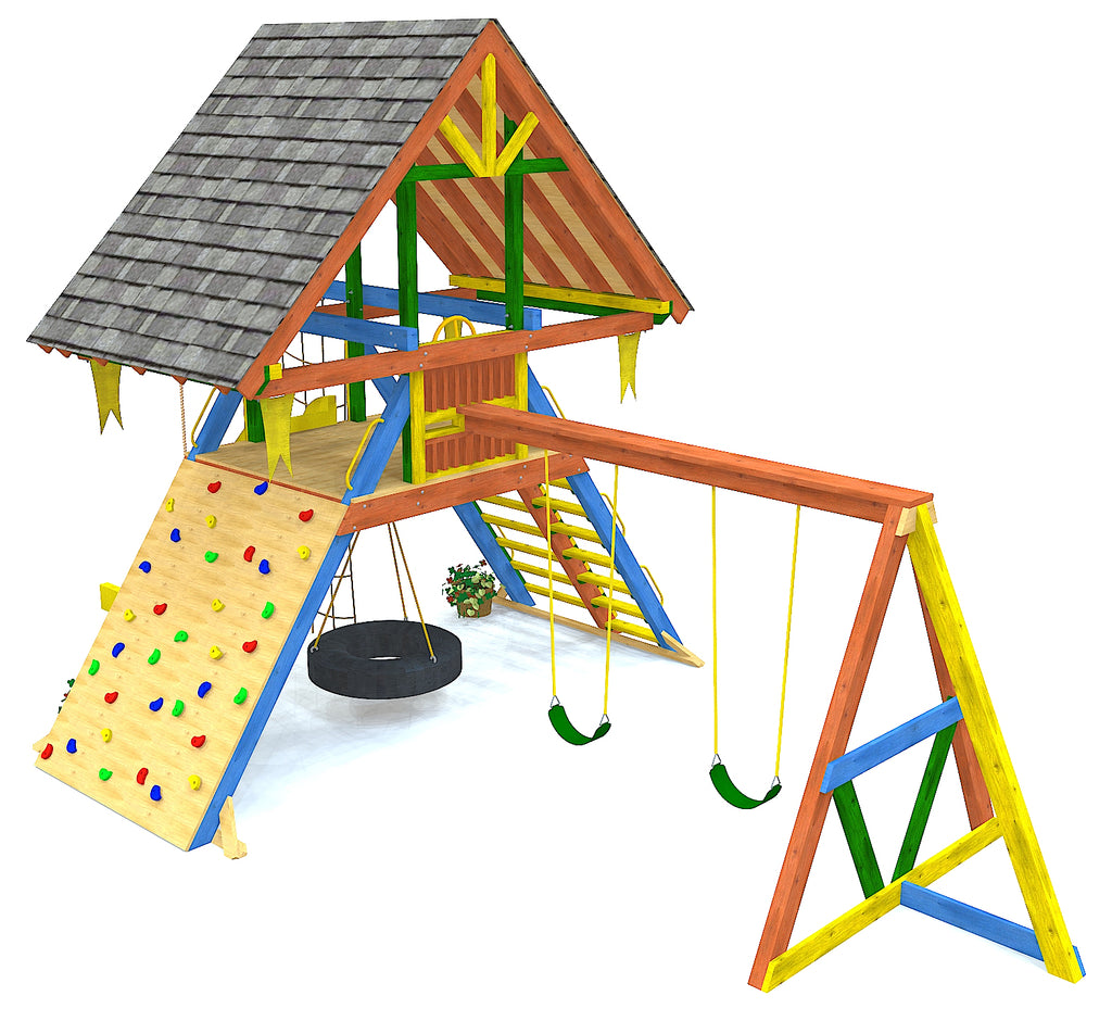 A-frame style playset with roof, rockwall, tire swing and swing set