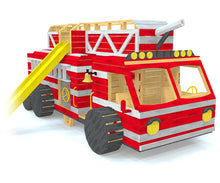 A large, wooden fire truck play-set with a slide