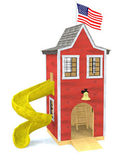 Two story, firehouse themed playhouse with windows and slide