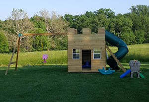 Castle play-set with a swing-set attachment