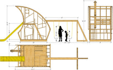 Whimsical gnome playhouse plan w/ slide, swing-set and loft