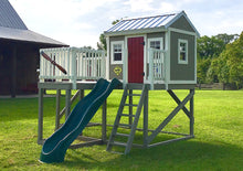 Grey, elevated playground playhouse plan