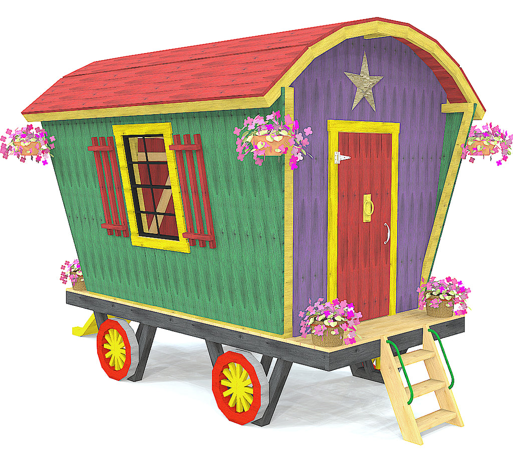 Colorful Romani Gypsy wagon playset