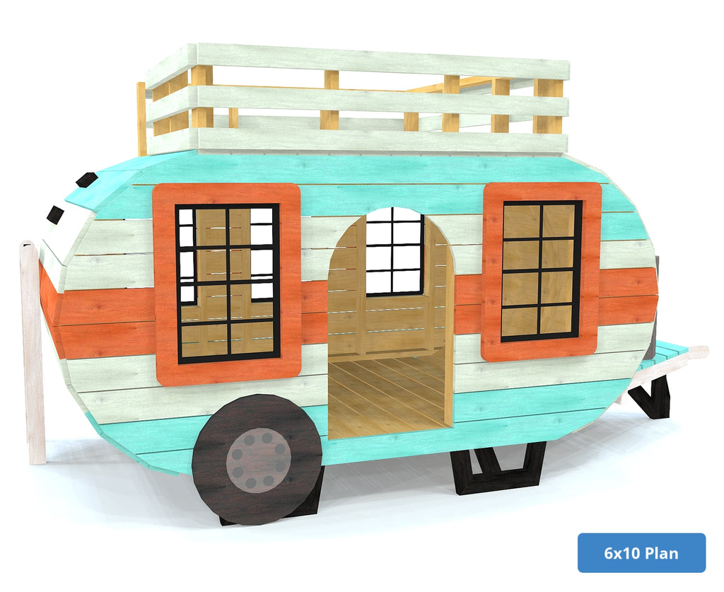 Retro style playset camper with loft and windows