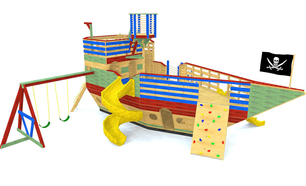 Large, 3 story pirate ship play-set plan with a swing-set, rock wall, slides, gang plank and crow's nest