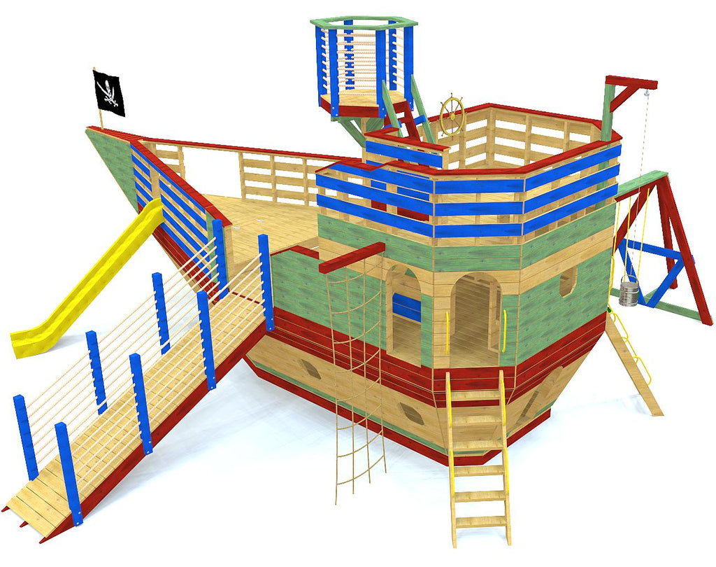 Large pirate ship plan with cargo net, ship ladder, swing-set, gang plank and many other accessories