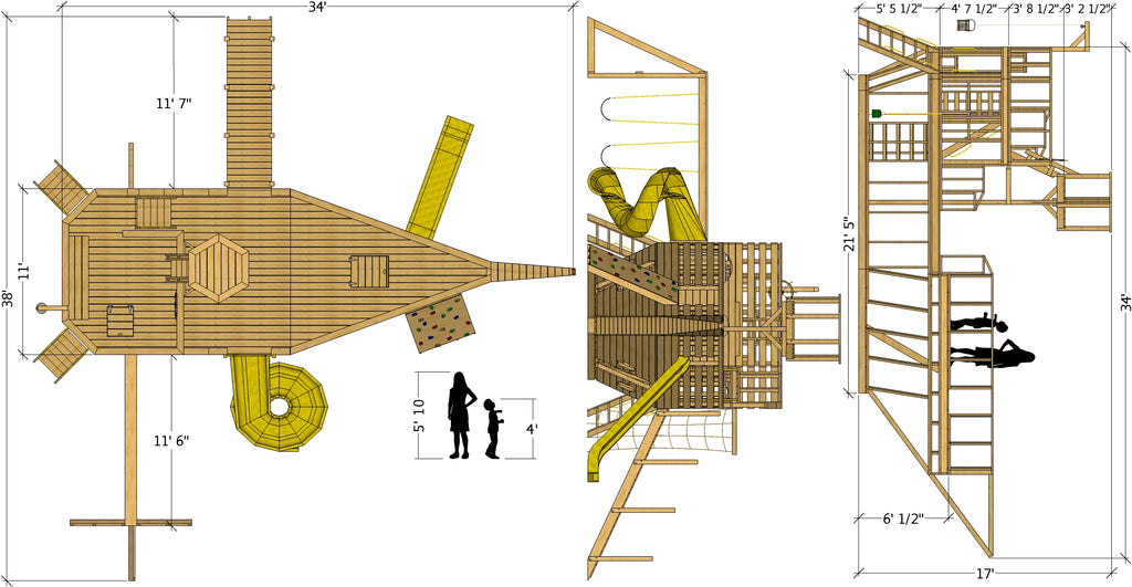 Large pirate ship plan dimensions