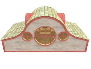 Hobbit playhouse with large windows, dormers and trim