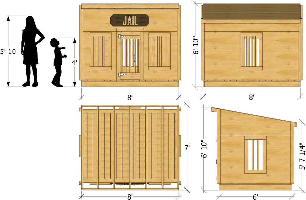 Jail playhouse plan dimensions