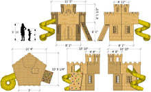 King Author's castle play-set plan dimensions