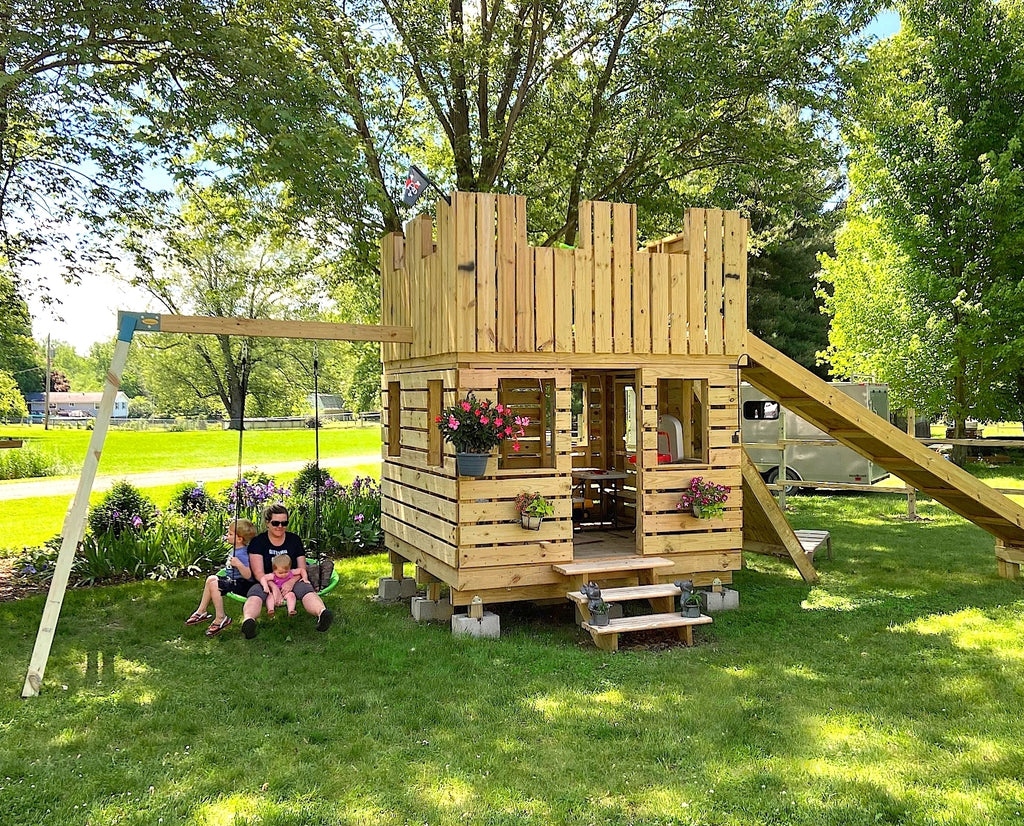 8x8 Castle Playhouse with swing set and flowers