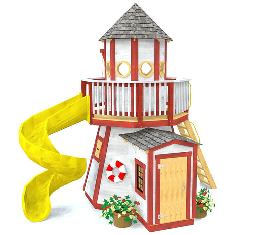 Red and white, two story lighthouse play-set w/ slide, front door and ladder