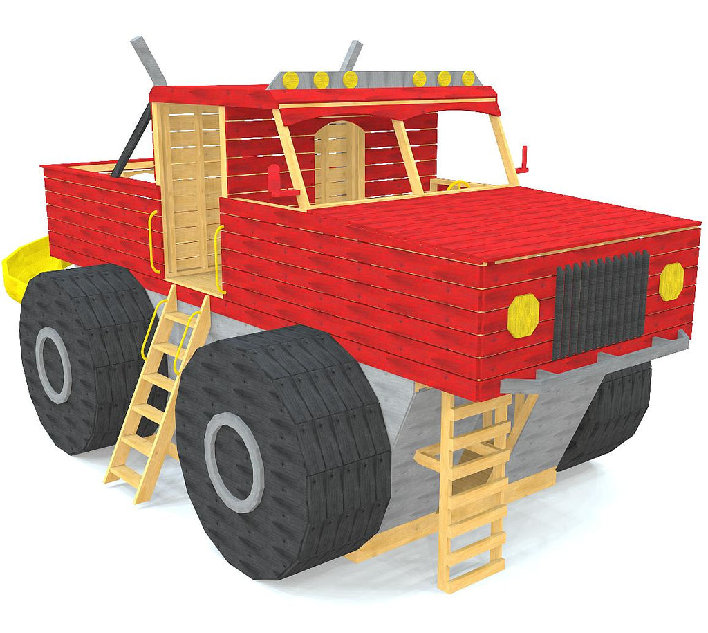 Two story, monster truck play-set plan