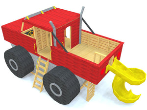 Back view of the monster truck play-set plan