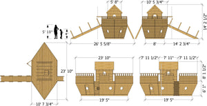 Plan dimensions for Noah's Ark play-set plan