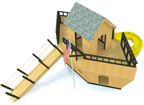 Top of Noah's ark playhouse plan with slide and gang plank