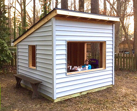 simple free playhouse plan with shed roof and 8x8 in size