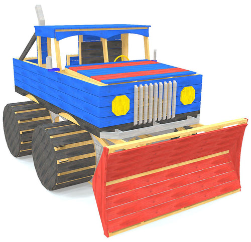 Blue DIY monster truck play-set plan w/ plow and big tires