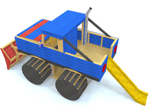 Blue monster truck play-set plan