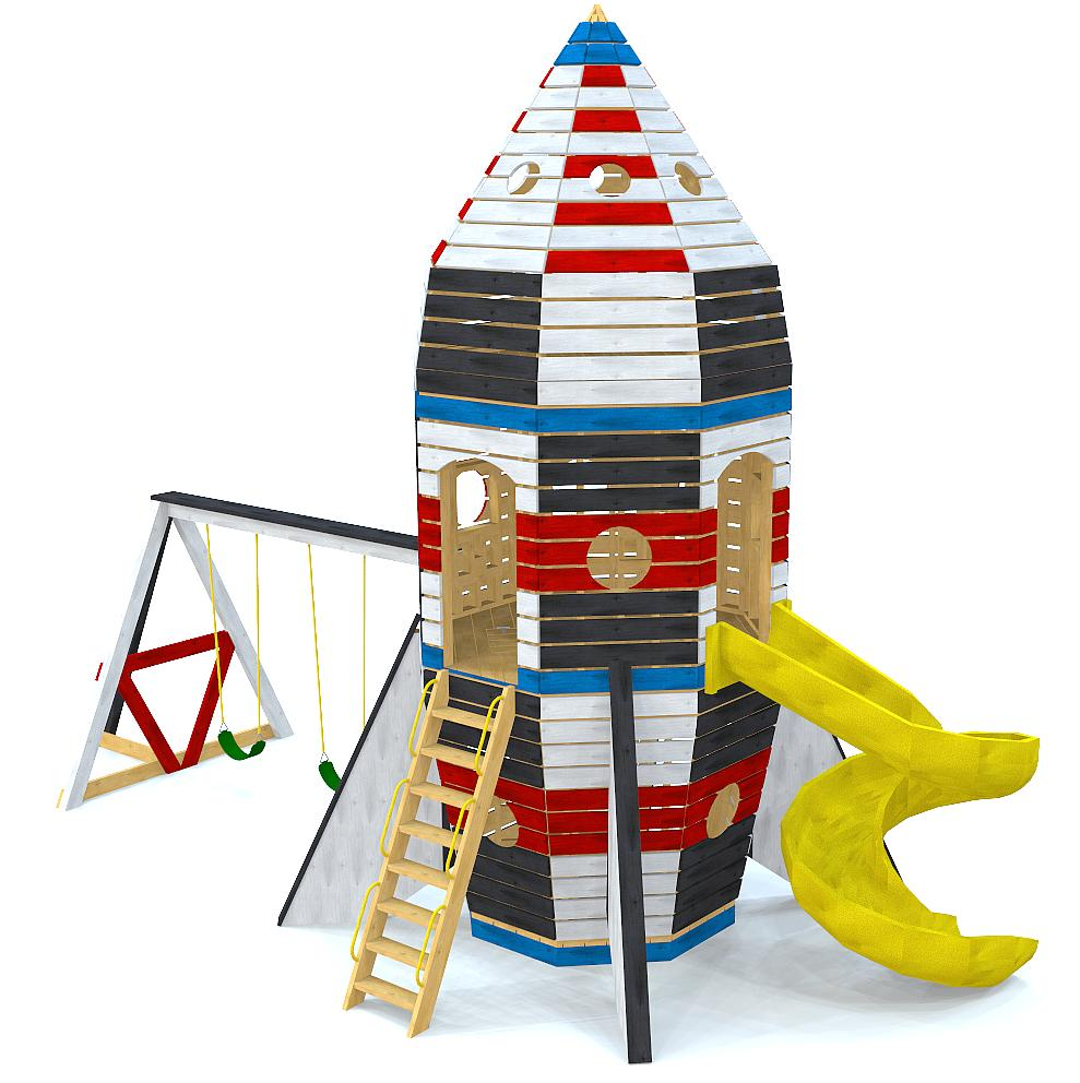 Wooden, 3 level rocketship playset with swing set