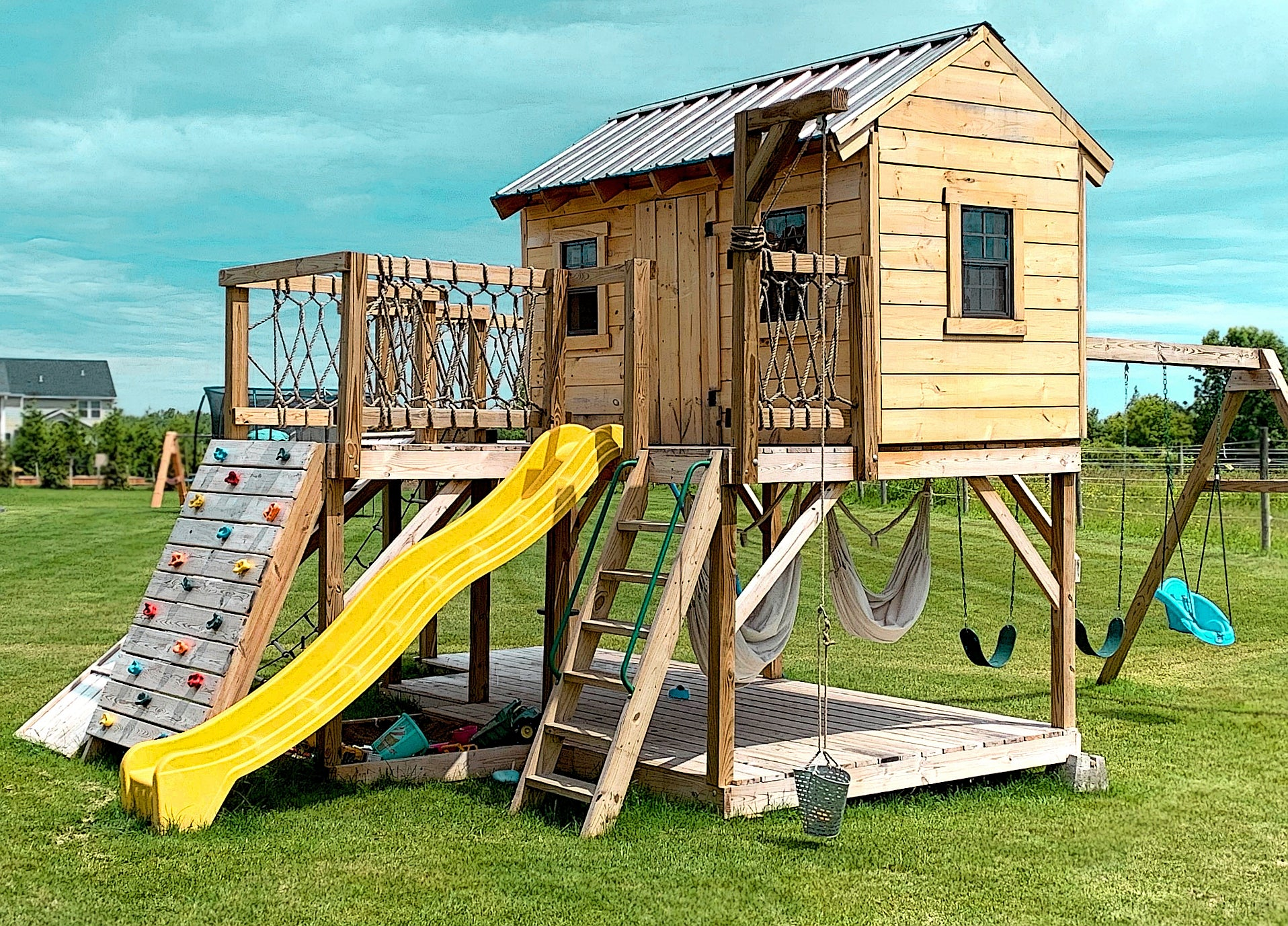 Playhouse Swing Plans Detailed P.D.F FOR Children Outdoor Playset For Kids Wood