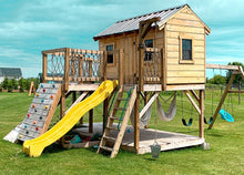 Two level playhouse with a swing-set, slide, rock wall, ladder and other accessories