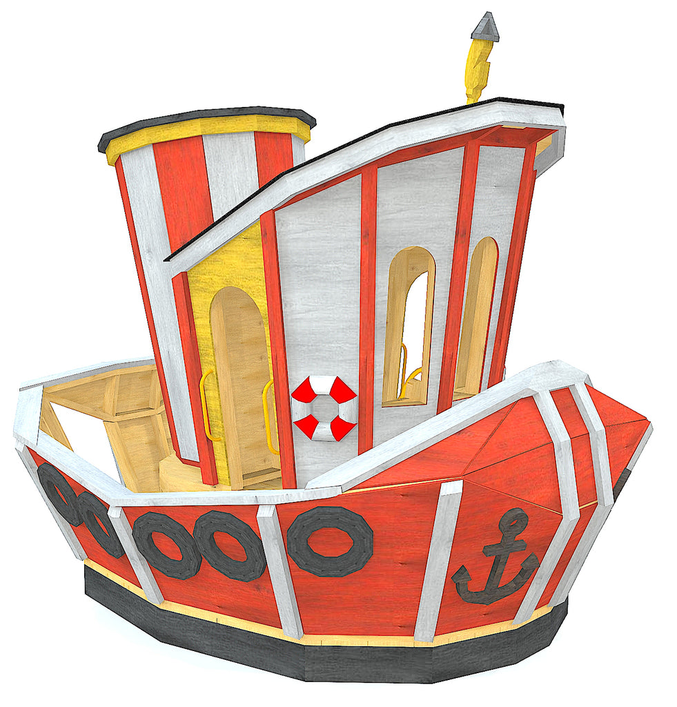 Red and white, whimsical tugboat playset