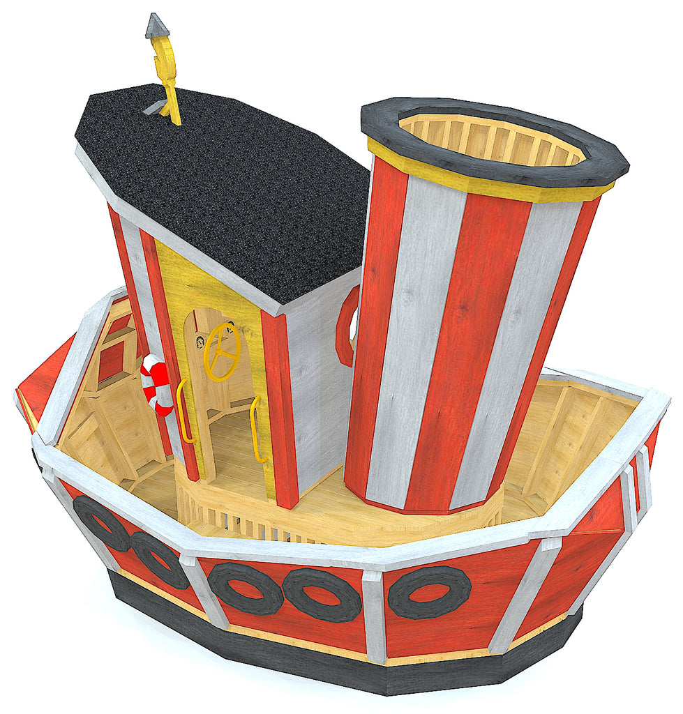 Small, whimsical tugboat playset