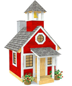 Red school playhouse plan with bell tower, chimney and glass windows