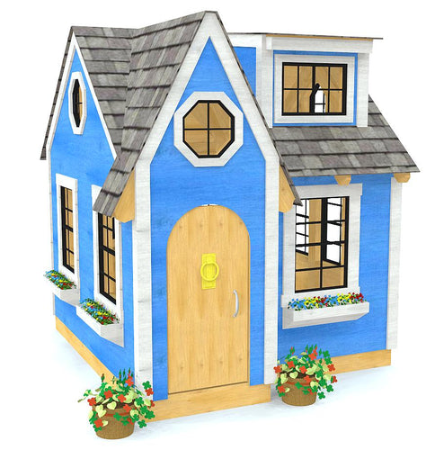 A cute and girly blue playhouse with flower boxes