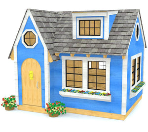 Beautiful blue playhouse plan for girls and boys