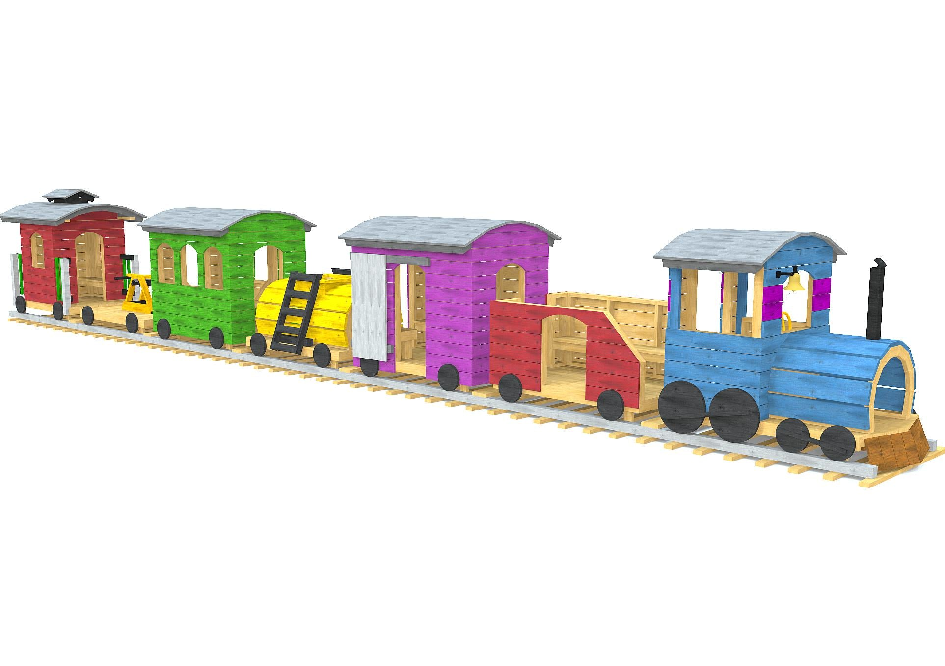 Wooden, playground train play-set plan with seven unique cars