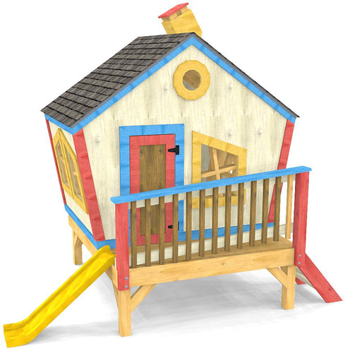 Fun, wacky and crooked wooden playhouse plan for toddlers