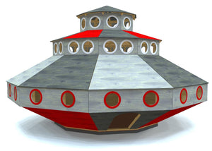 Wooden, 3 level UFO playset plan for kids