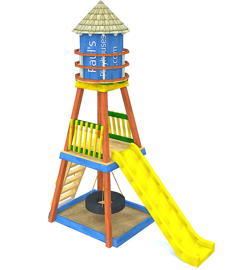 Water tower playset with slide