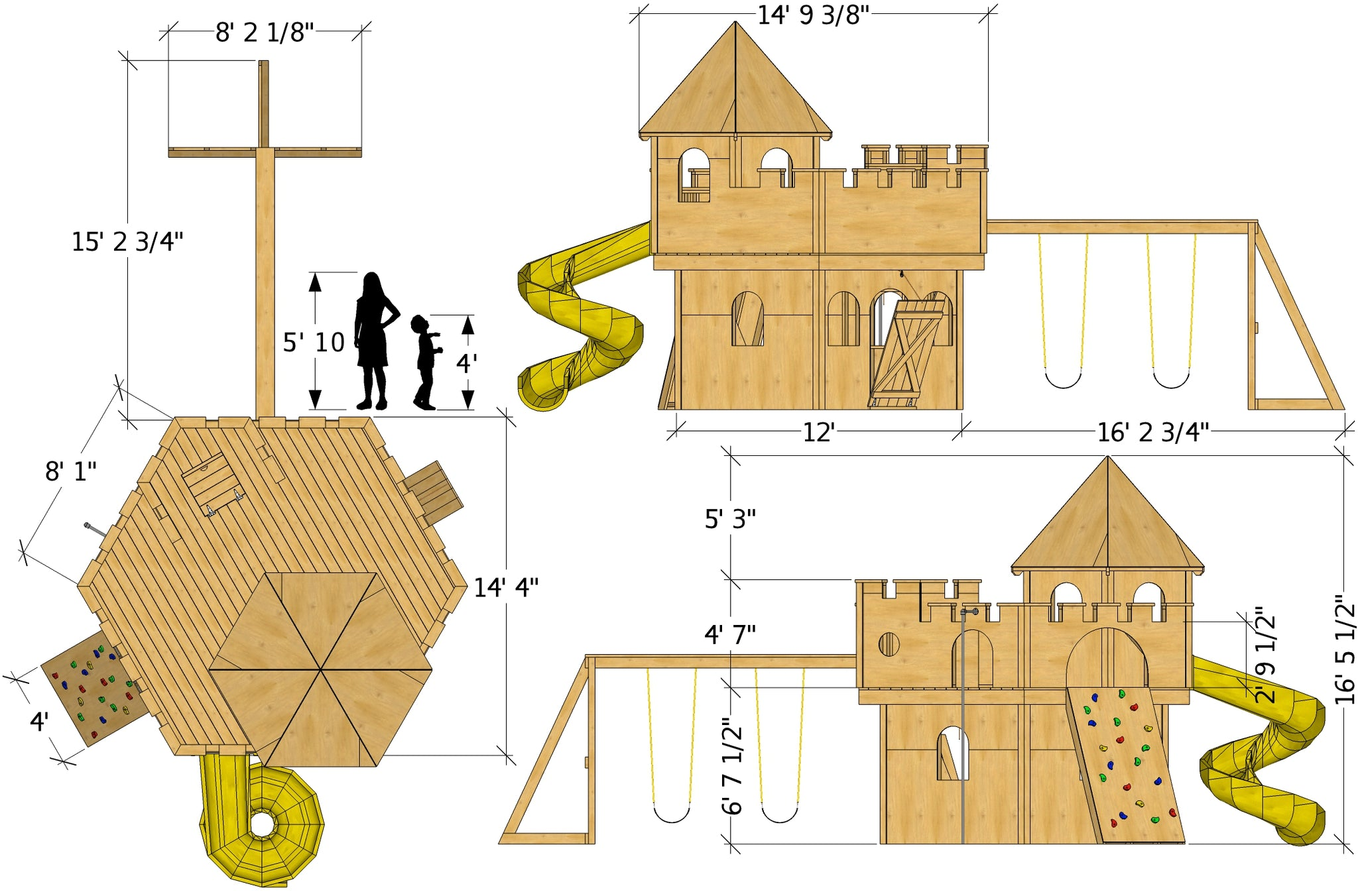 Do It Yourself Home Design: 14x14 Whimsical Castle Playhouse Plan For Kids