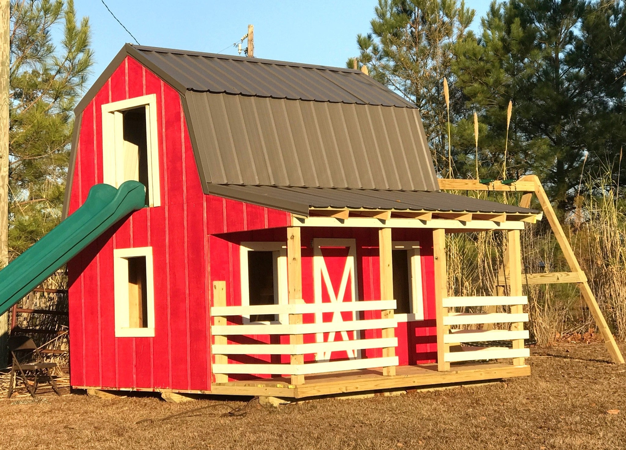 Large Barn & Silo Playhouse Plan for Kids | 12x19, Two Stories ... on doghouse with porch plans, workshop with porch plans, cabin with porch plans, garage with porch plans, cottage with porch plans,