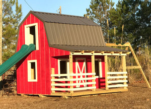 wooden barn playhouse plan with slide and swings