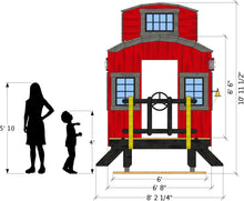 front isometric view of caboose playhouse plan