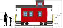 side isometric view of caboose playhouse plan