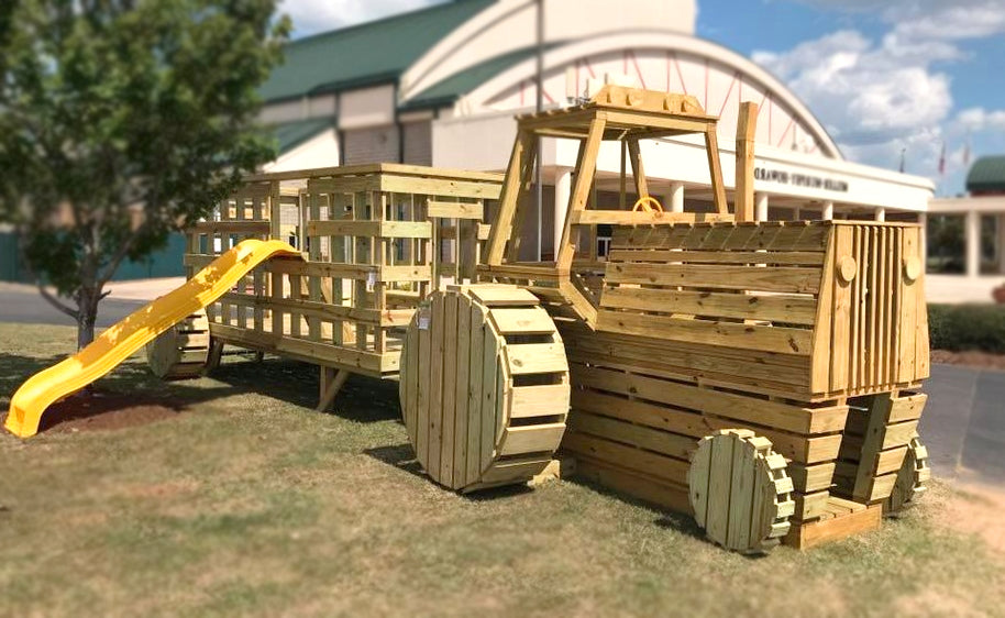 Farm tractor play set plan life size wood plan for kids for Log swing plans