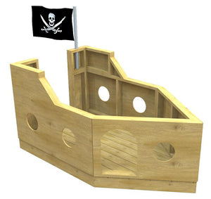 Wooden, free pirate ship plan for kids