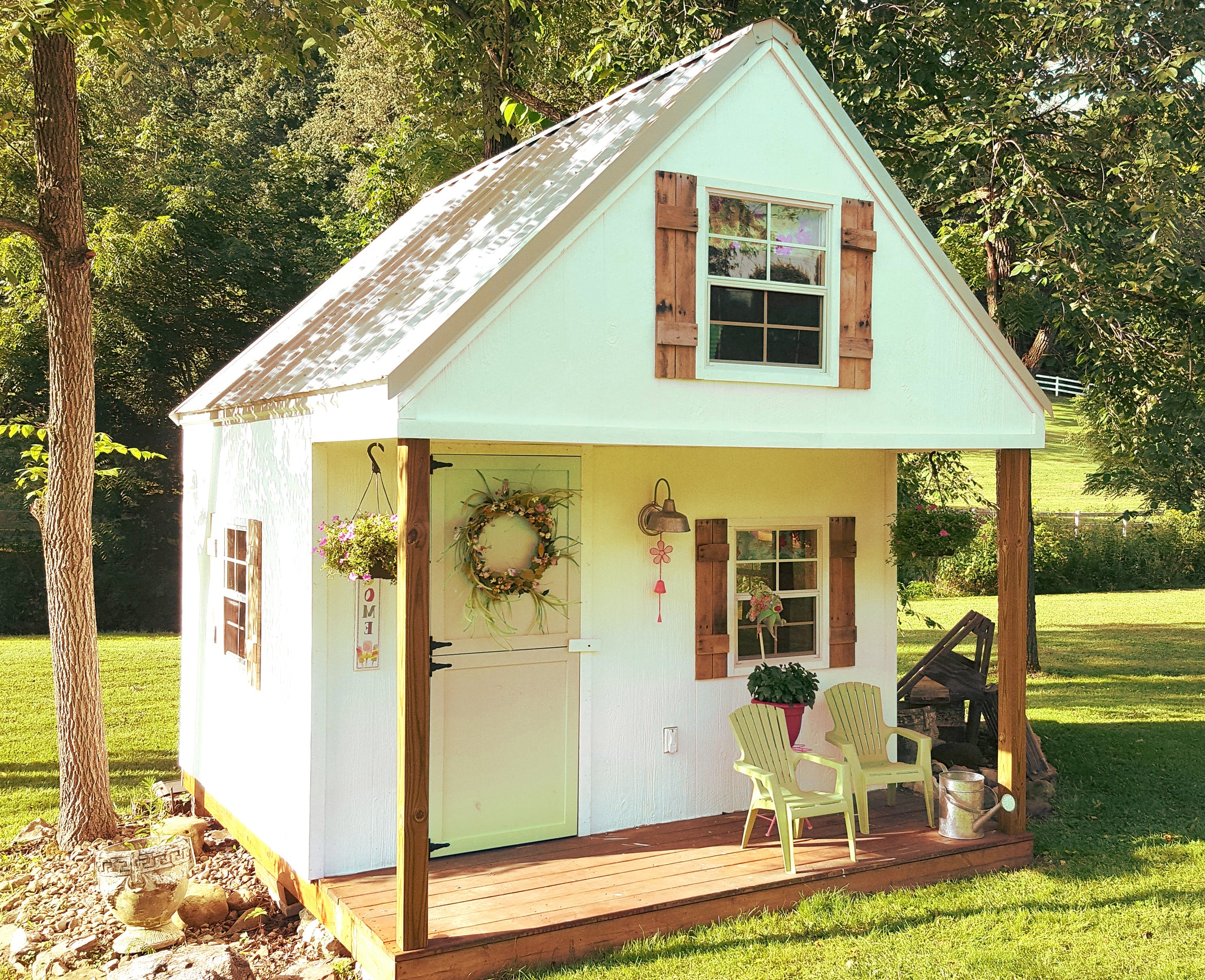 The green playhouse plan 60ft wood plan for kids paul for Playhouse with porch plans