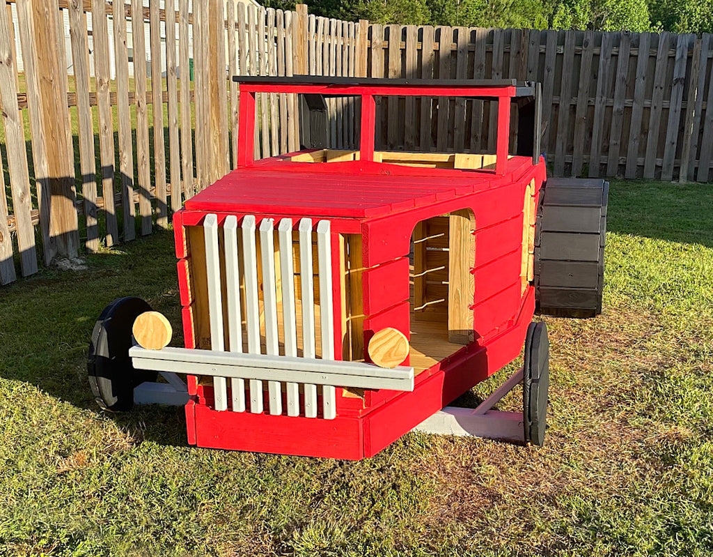 Red 32 Ford Hot Rod Playset in Backyard