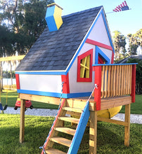 A colorful and crooked toddler playhouse plan