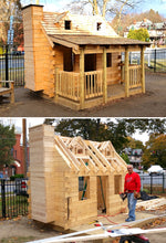 Log Cabin playhouse being constructed