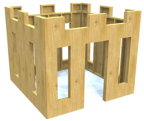 Free, wooden playhouse castle plan for kids