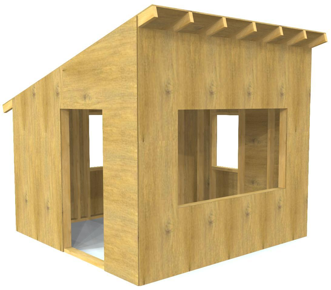 Paul 39 s outdoor hideaway free 8x8 playhouse plan paul 39 s for Free playhouse plans
