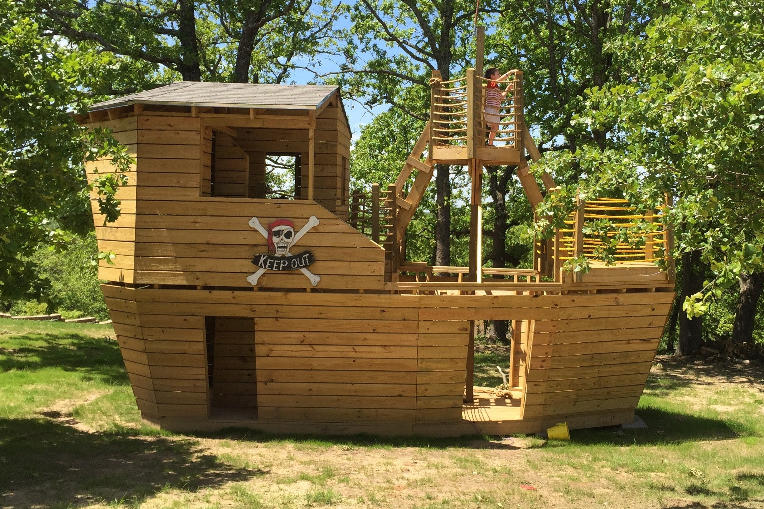 Large, Cool Playground, Wooden Pirate Ship
